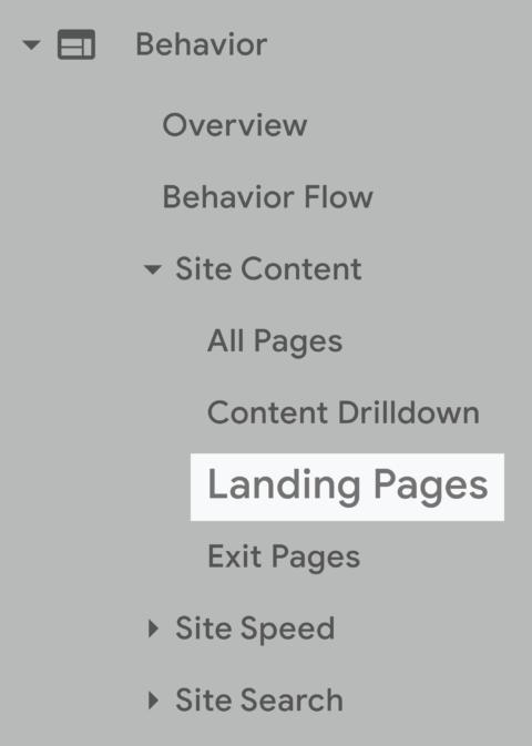 بخش landing pages در آنالیتیکس