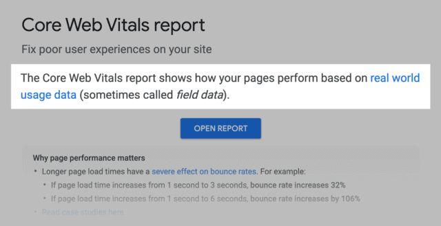 گزارش google core web vitals