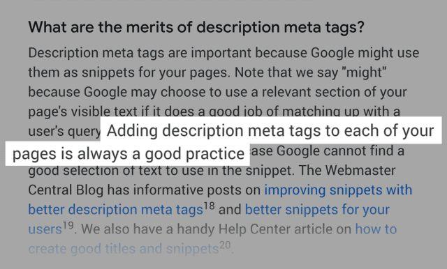 توصیه گوگل درباره متا دیسکریپشن