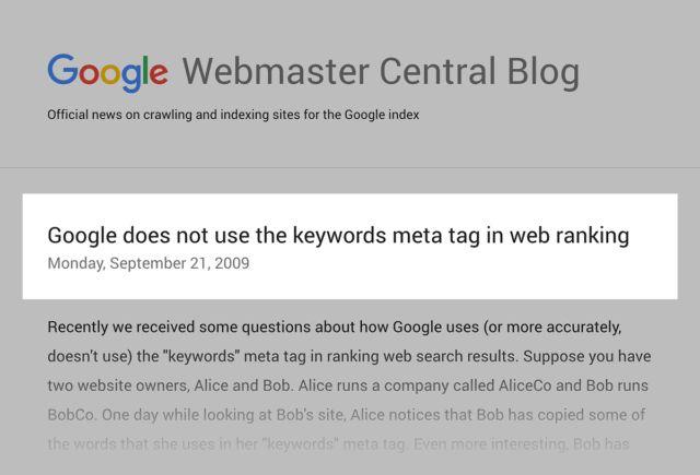 گوگل به کلمات کلیدی استفاده شده در متا دیسکریپشن توجه نمیکنه