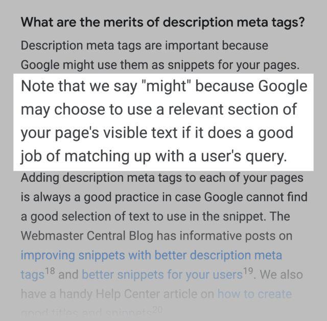 تغییر متا دیسکریپشن توسط گوگل