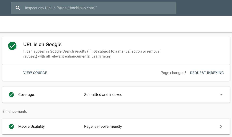 چک کردن آدرس صفحه در سرچ کنسول گوگل