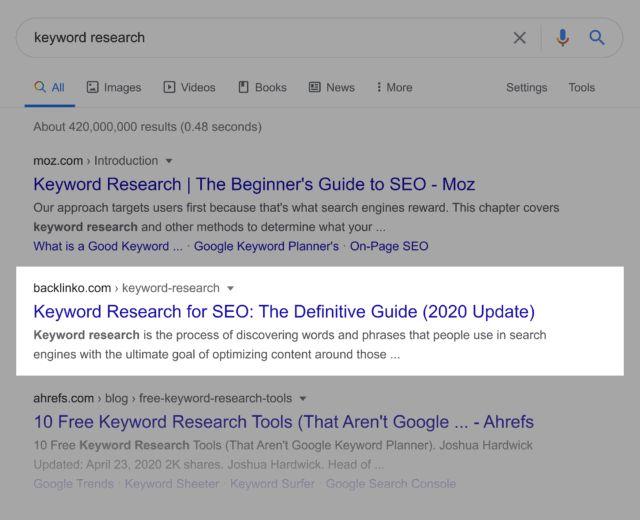 نمونه کامل یک لینک در نتایج جستجو