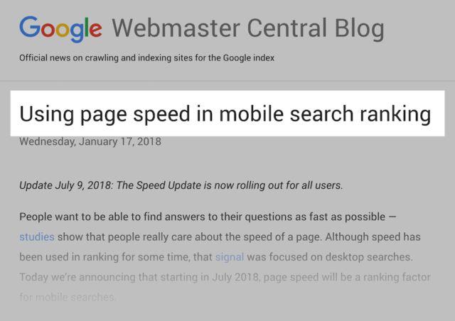 استفاده از سرعت صفحه به عنوان فاکتور رتبه بندی