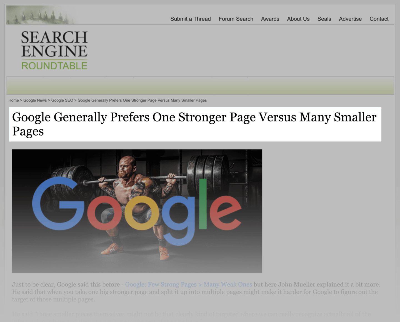 گوگل صفحات کم با کیفیت محتوای بیشتر را ترجیح می دهد